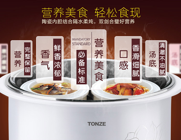 Tonze Smart Twin Ceramic Pot Electric Stewpot DGD22-22EG